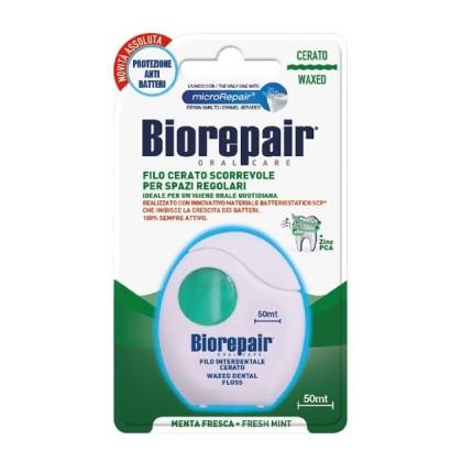 BIOREPAIR - woskowana nic dentystyczna, gładko przesuwająca się miedzy zębami, remineralizująca, miętowa- 50 m (zielona)