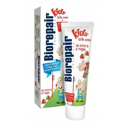Biorepair Kids 0-6 lat pasta dla dzieci bez fluoru o smaku poziomki