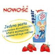 BIOREPAIR Junior -  Zestaw Topo Gigio - pasta dla dzieci o smaku truskawkowym + szczoteczka + żel do mycia ciała i włosów
